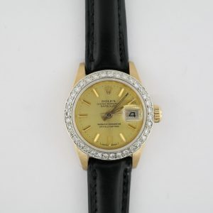 Ladies Rolex Datejust 6917 Diamond Bezel Champagne Stick Dial 18K Black Leather
