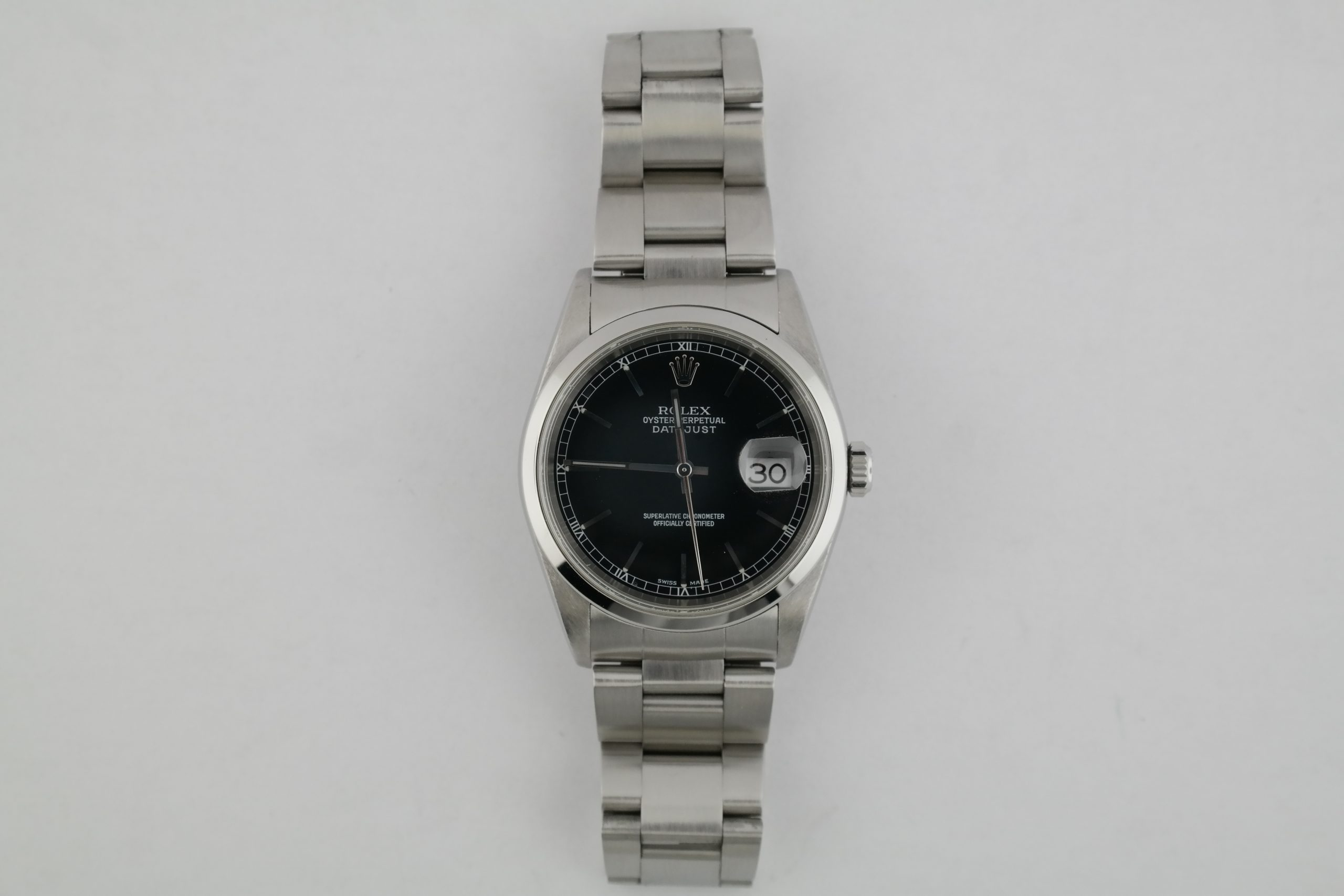 Rolex Datejust 16200 Black Dial Stainless Steel Smooth Bezel Oyster Band 2003