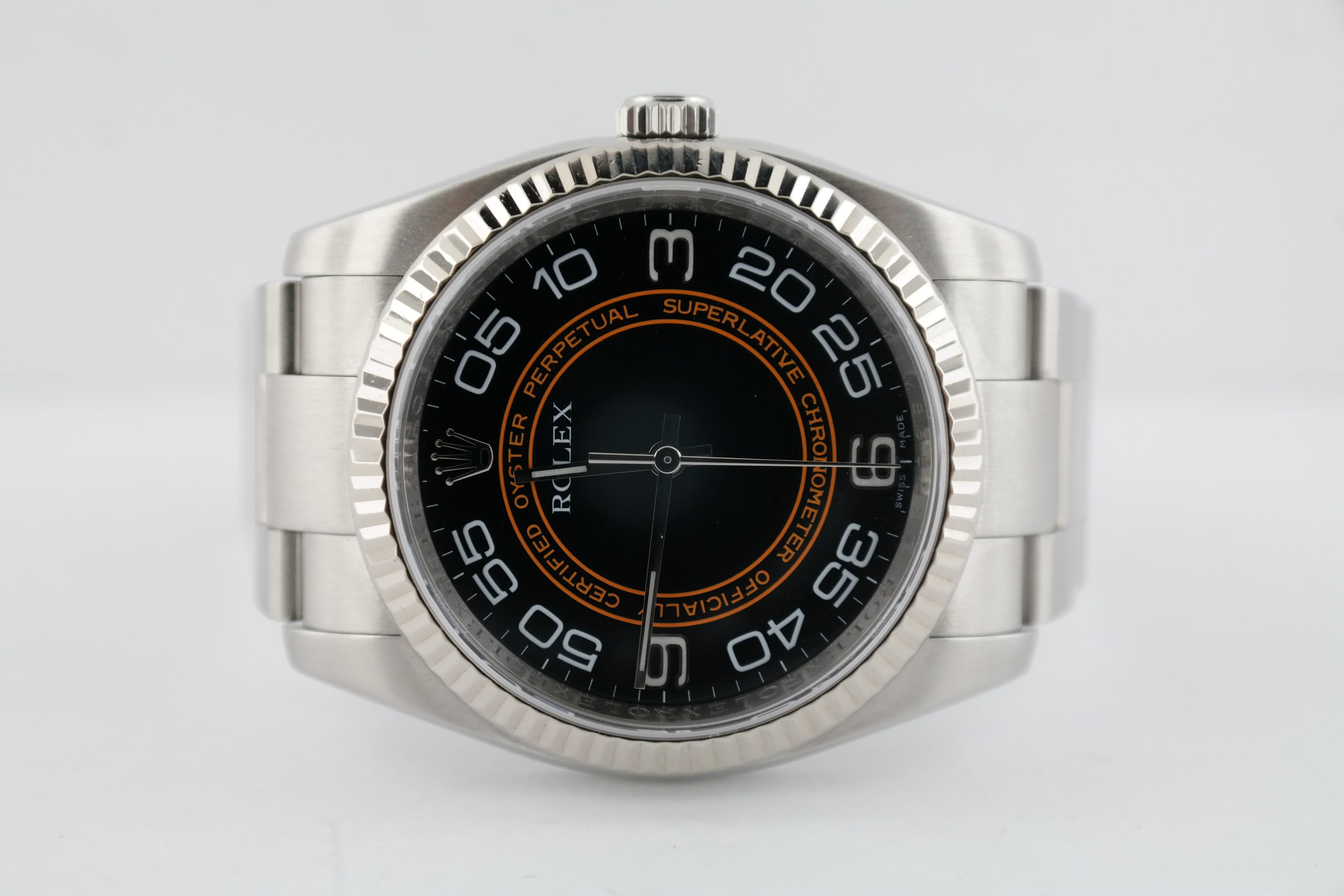 Rolex Oyster Perpetual 116034 Black Concentric Dial Oyster Band White Gold Bezel