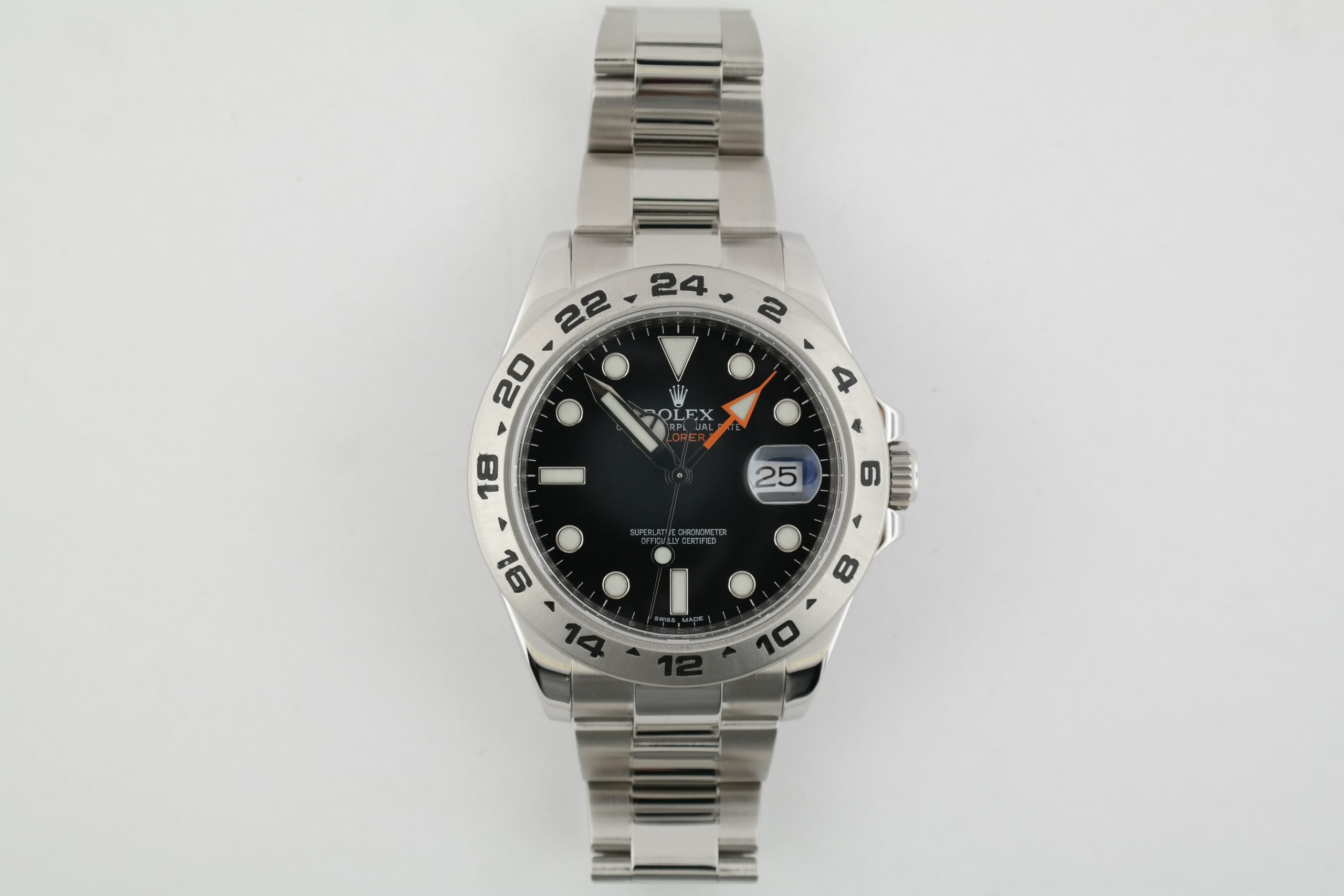 Men's Rolex Explorer II 216570 Black Dial 42mm Stainless Steel GMT Year 2010