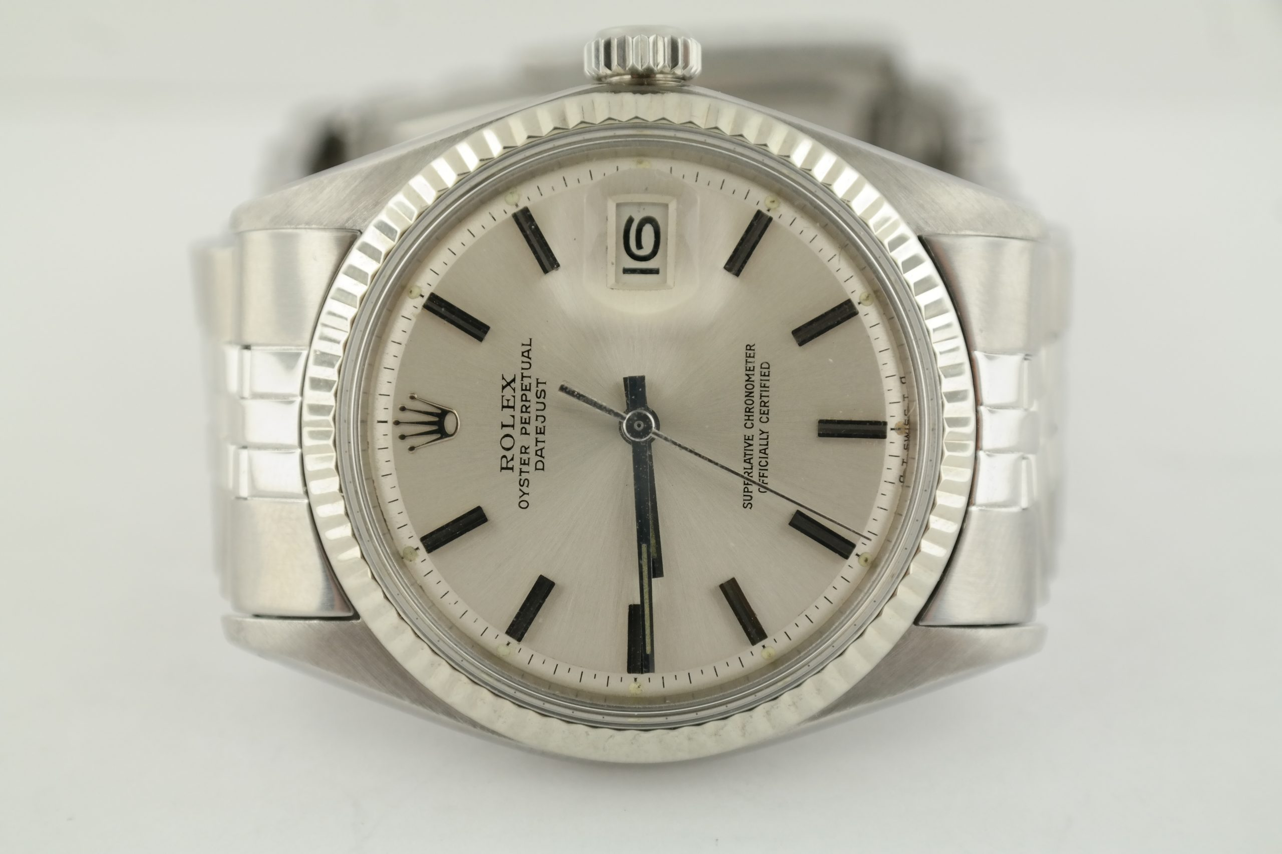 Rolex Datejust 1601 Silver Dial Jubilee Band White Gold Fluted Bezel Circa 1971