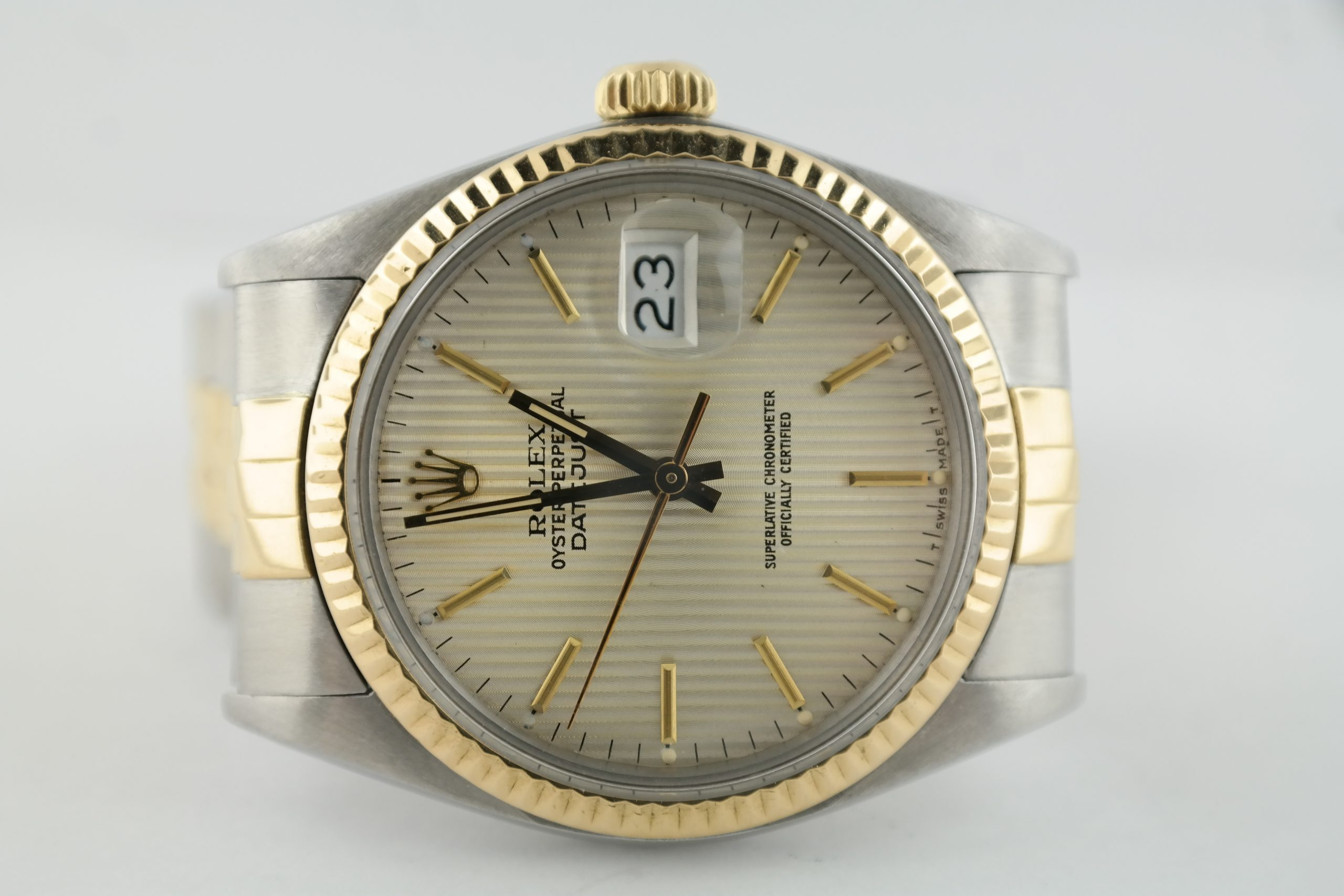 Rolex Datejust 16013 Silver Tapestry Dial Two-Tone Jubilee Band Circa 1985