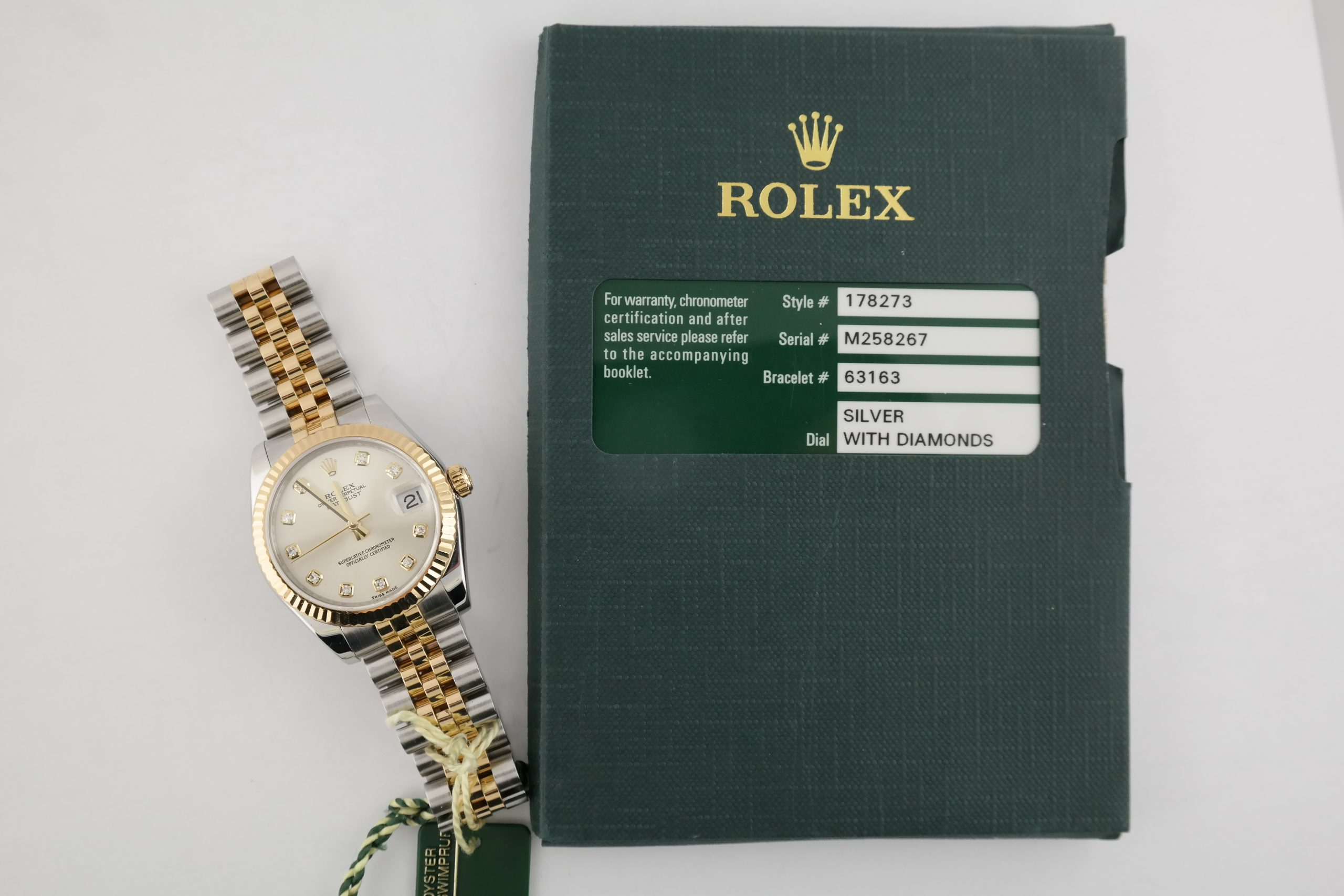 Rolex Datejust 178273 Silver Diamond Dial Jubilee Band 31mm Box & Papers 2008