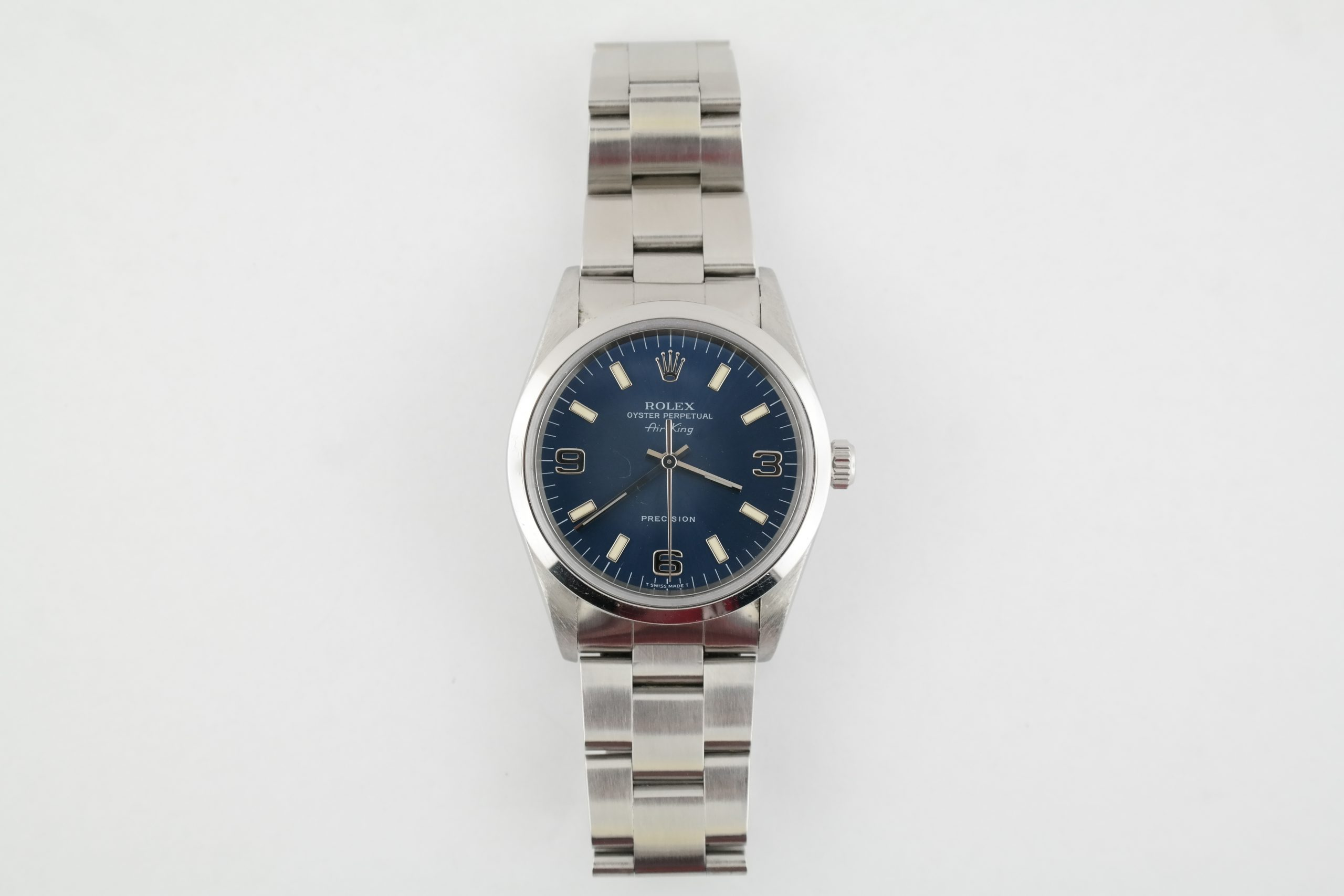 Rolex Air-King 14000 Blue Arabic Dial Oyster Band 34mm Stainless Steel Year 1998