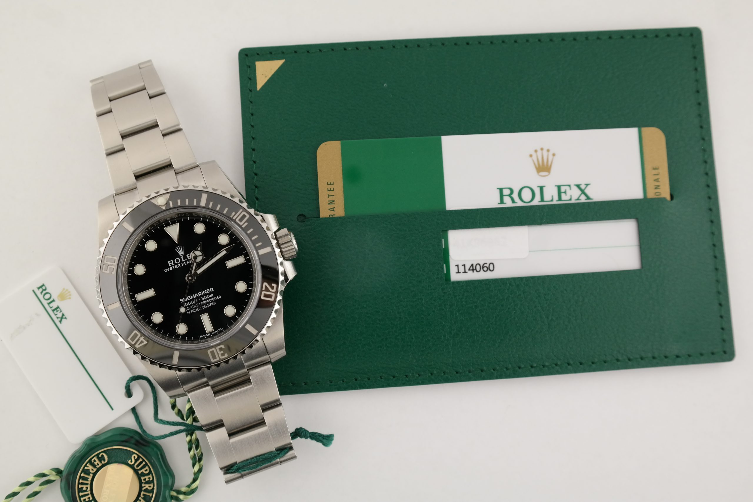 Men's Rolex Submariner 114060 No Date Black Ceramic Bezel & Dial 40mm Year 2020