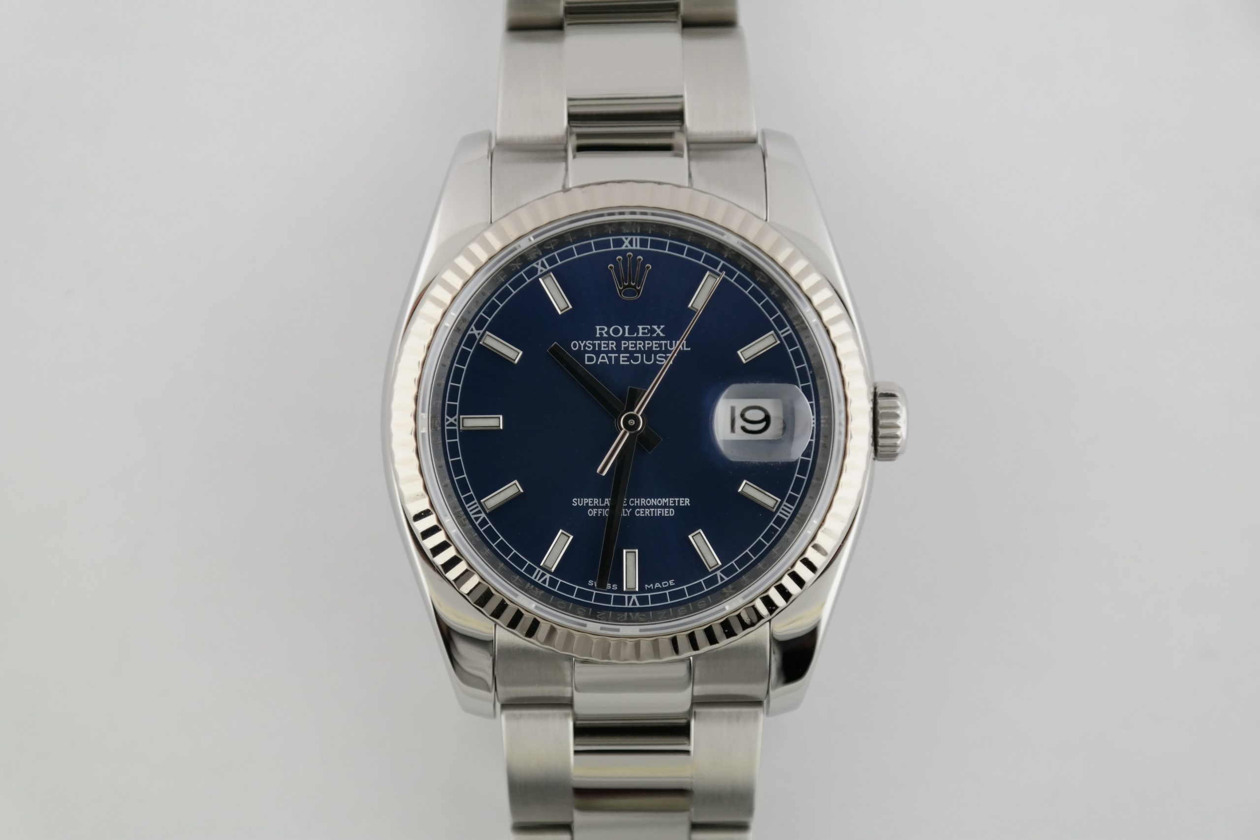 Rolex Datejust 116234 Blue Index Dial Oyster Band White Gold Fluted Bezel 36mm