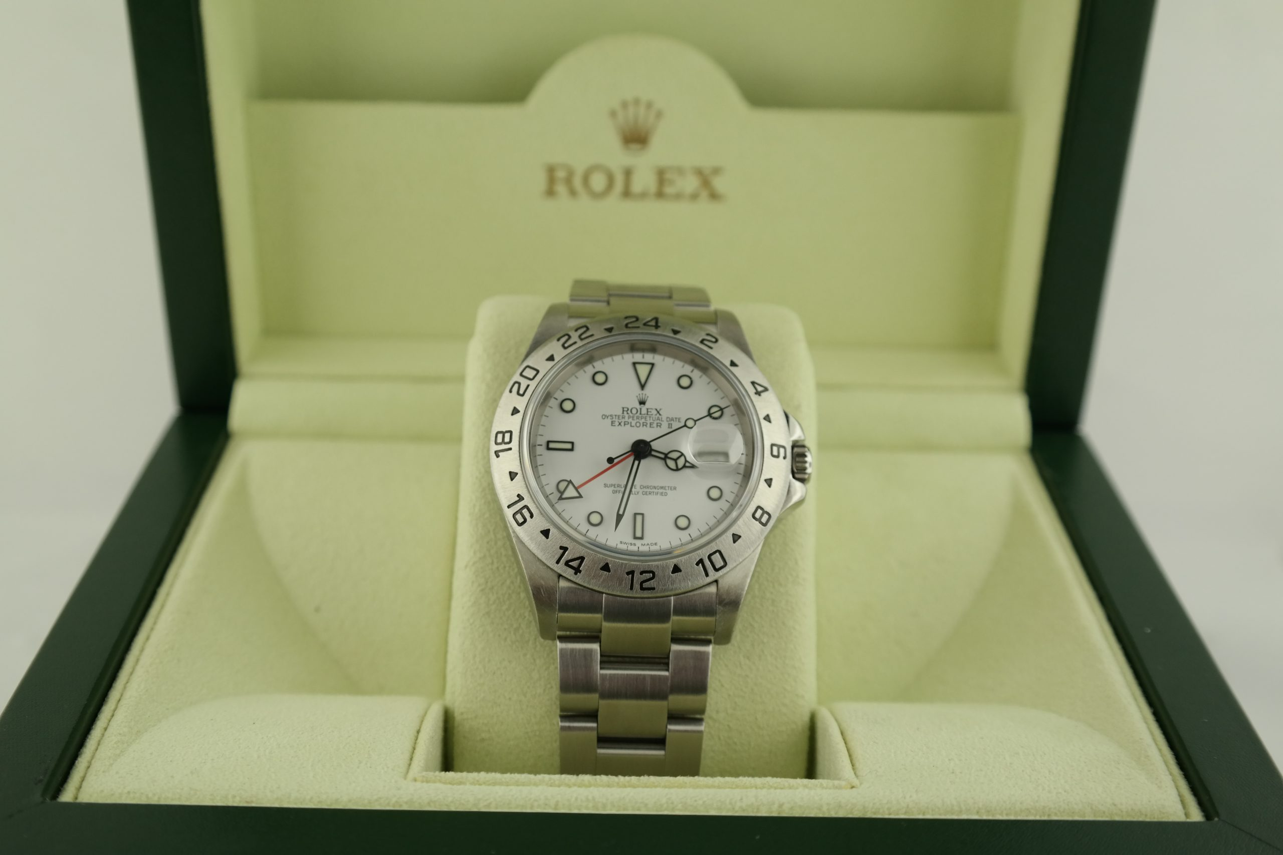 Rolex Explorer II 16570T Polar White Dial 40mm Oyster Band Box & Paper Year 2007